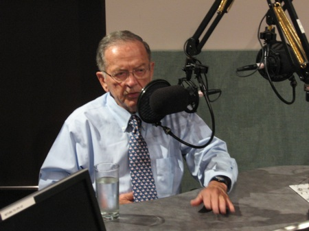 Ted Stevens in the APRN studios, Anchorage, Alaska -- Photo by John Proffitt, APTI